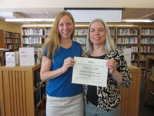 From left: Cynthia Sandler, the librarian of the North Salem MS/HS Library and Cathleen Sulli, assistant library director and children's librarian.