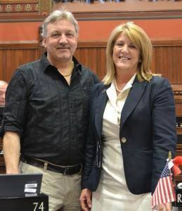 Tom DeLaurentis, a Fairfield resident, is honored at the Capitol for saving a boy from a fire.