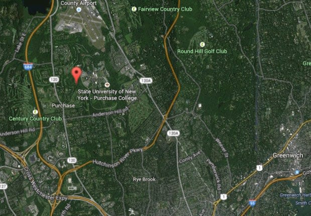 The area where a small plane crashed Friday morning, with the red marker noting Cottage Avenue near Route 120.