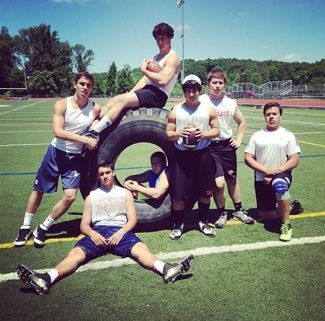 Ben Toder, Will Cohen, Lucas Beni, Jason Gerold, Nick Lancia Ethan McKenna and John Clune of the Fox Lane High School football team.