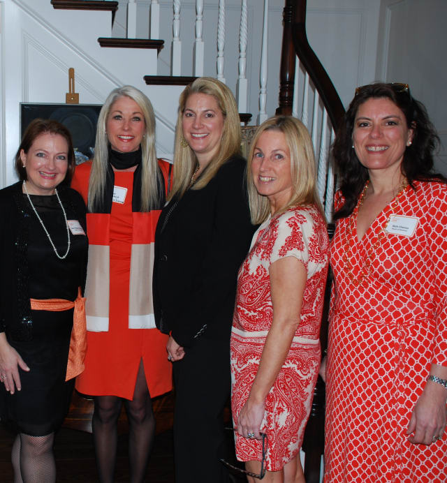 YWCA board member Deb Papaeconomou, executive director Heather Cavanagh, and board members Mia Mihopoulos, Deirdre McGovern, and Beth Cherico at the recent YWCA Darien/Norwalk Alumni Cocktail Party where the new Inspire Club was introduced.