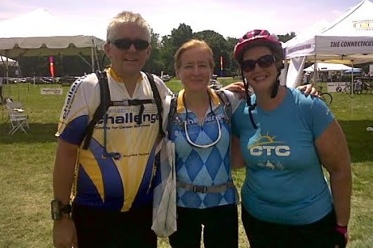 Norwalk's Denise Valentine, center, with life partner Paul Shelly, left, and her friend Laurie, will ride in the CT Challenge on July 25.