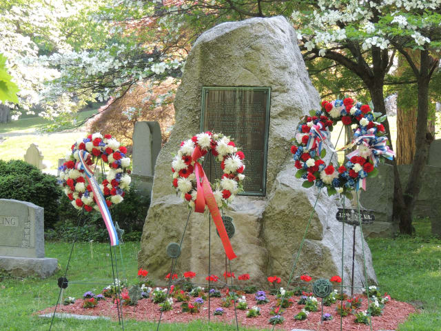 A memorial in Sleepy Hollow Cemetery honors the men who served in the First Provisional Regiment of the New York Guard during World War I.