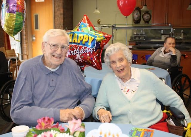 John Chesney and Dorothea Williams celebrate their landmark 100th birthdays at Waveny Care Center in New Canaan.