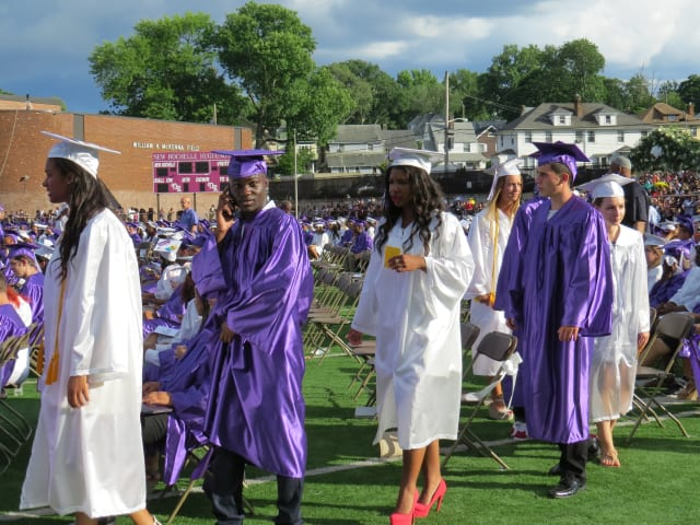 The New Rochelle Class of 2014 marches into commencement.