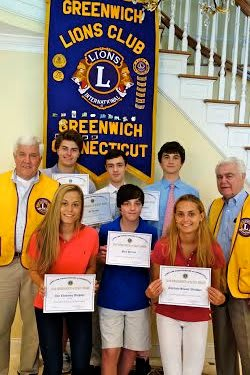 Greenwich teens are honored by Greenwich Lions Club. Bottom row, from left: Annie Wechsler Paul Peruzzi and Charlotte Wechsler. Top, from left: Paul Settlemeyer, Harry Wechsler, JC Peruzzi, Luka Yancopoulos, and Dave Noble.