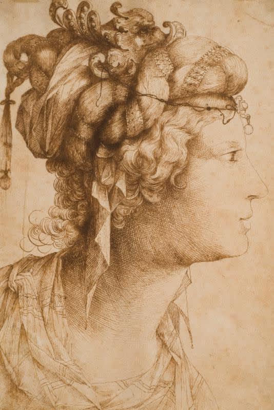 Jacopo Ligozzi (Italian, 1547-1627); Head of a Woman with Elaborate Headdress, 314 x 210 mm; Collection of Helen-Mae and Seymour Askin; Photograph by Paul Mutino