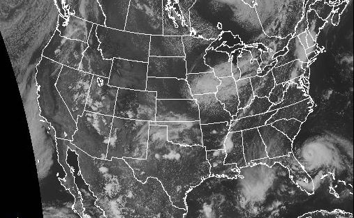 A satellite image showing Tropical Storm Arthur situated off the Georgia and Florida coast while heavy thunderstorm bear down over central New York at 4:20 p.m. Wednesday.
