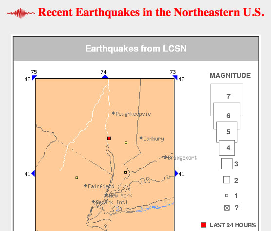 The exact location of the 2.5 magnitude earthquake reported Saturday morning, marked in red.