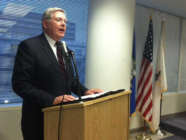 Stamford Mayor David Martin delivers his State of the City address at the Board of Representatives meeting Monday night.