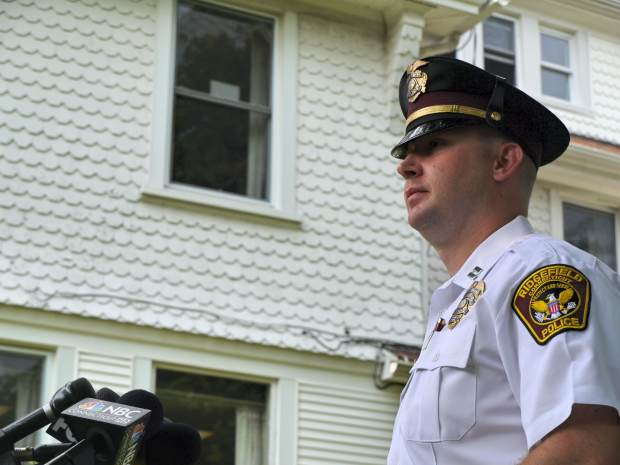 Ridgefield Police Capt. Jeff Kreitz speaks to gathered media Tuesday afternoon about the toddler's death but did not take any questions.