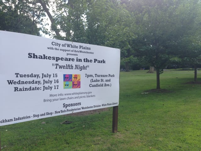 The city of White Plains announces rain location for Shakespeare in the Park.