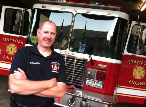 Cold Spring Mayor Ralph Falloon pictured at the Central Fire Station in Stamford, Conn.