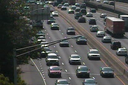 Traffic tied up early on Friday afternoon on Interstate 95 near Exit  15 in Norwalk.