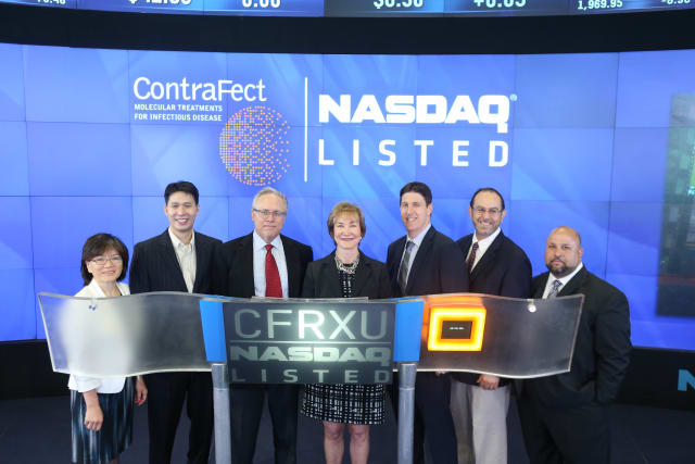 """Yonkers biotech company Contrafect officially went public Tuesday, July 29, as part of the NASDAQ Capital Market under the ticker symbol """"CFRXU."""""""