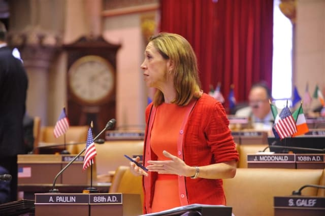 Amy Paulin (D-88) debating a bill on the Assembly floor.