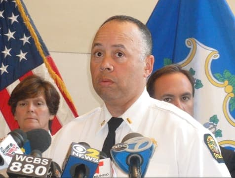 Greenwich Police Lt. Kraig Gray talks during a press conference Thursday about the boating-related death of 16-year-old Emily Fedorko.