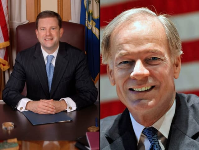 Fairfield State Senator John McKinney, left, and Greenwich resident Tom Foley, right, are seeking to become the Republican Party's candidate for governor in Tuesday's primary.