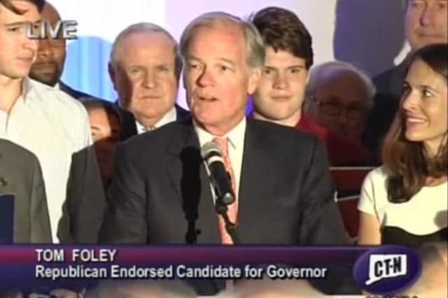 Greenwich's Tom Foley speaks to supporters in Waterbury after he won the Republican primary for governor on Tuesday evening.