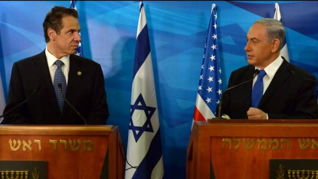 New York Gov. Andrew Cuomo with Israeli Prime Minister Benjamin Netanyahu at a press conference on Wednesday, Aug. 13, in Jerusalem.