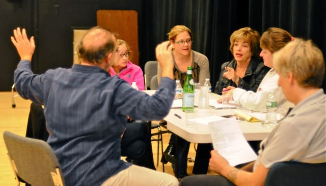 """Darien Arts Center Stage committee discusses the upcoming production of the 2009 Tony Award winner for Best Play, """"God of Carnage,"""" by Yasmina Reza."""