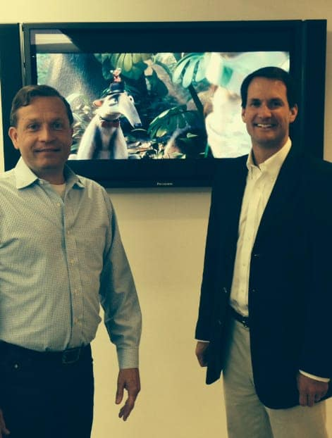 U.S. Rep. Jim Himes, (D-4th District.), right, meets with Brian Keane, chief operating officer and executive vice president of Blue Sky. Himes toured the Greenwich-based animation studio on Monday.