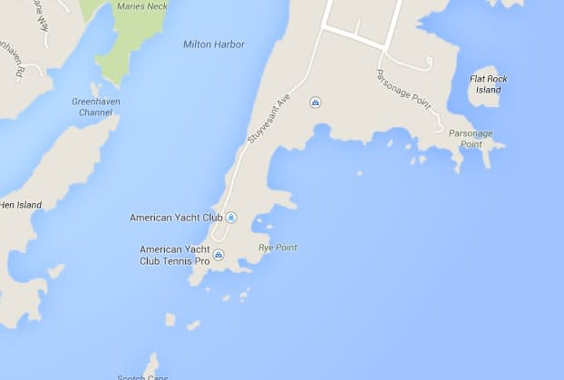 A deceased dog was found washed up on rocks near the Long Island Sound Wednesday night.