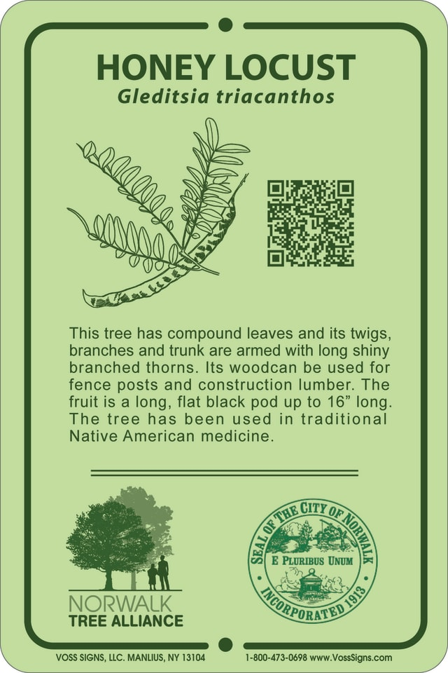 Identification signs like this one will be mounted on trees.