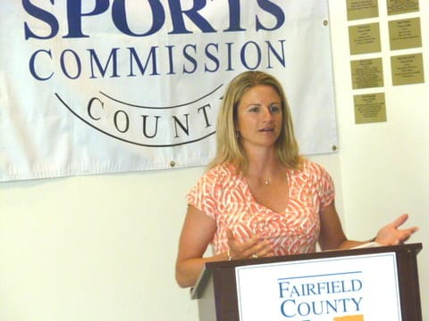 Olympian Sue Merz will play in the Witherell Celebrity Invitational Golf Tournament Thursday, Sept. 4, at Stanwich Club in Greenwich.
