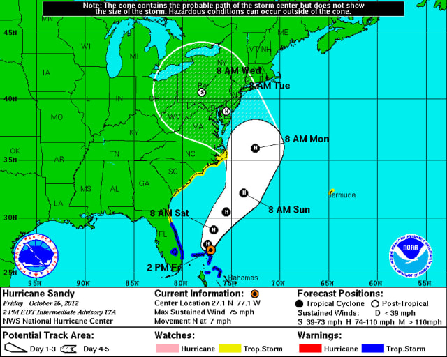 Hurricane Sandy is expected to make landfall in New York early next week.