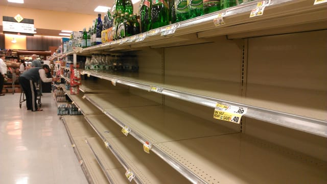 Bottled water was selling out quickly at Croton's ShopRite supermarket Saturday.