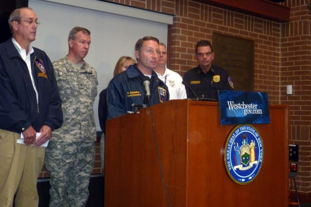 """Westchester County Executive Rob Astorino said, """"It's all hands on deck"""" for Hurricane Sandy during a news conference Monday."""