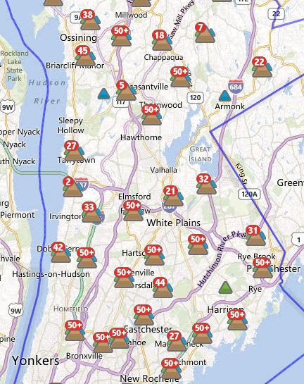 Roughly 4,500 customers in Cortlandt were without power Tuesday afternoon.