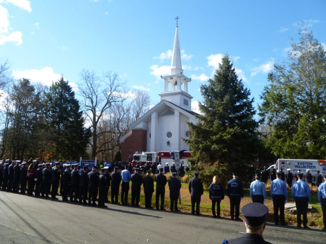 Fire personnel from Connecticut, neighboring states and Canada attended the memorial service for Easton firefighter Russell Neary at Notre Dame Church Saturday morning.