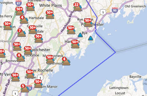 An estimated 69,293 out of 348,198 Con Edison customers in Westchester were without power at 5:30 a.m. Monday.