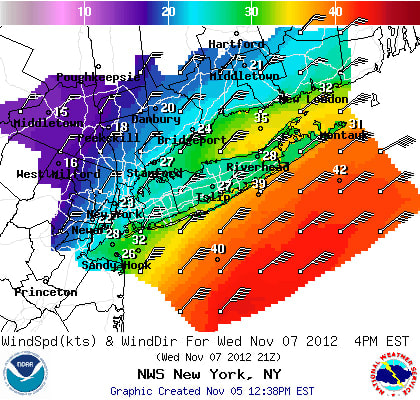 Heavy winds are headed to Westchester on Wednesday as a nor'easter moves up the coast.