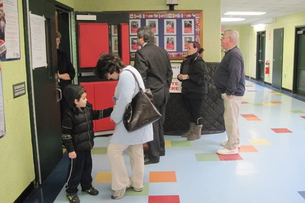 Greenwich voters line up in Byram to cast their ballots.