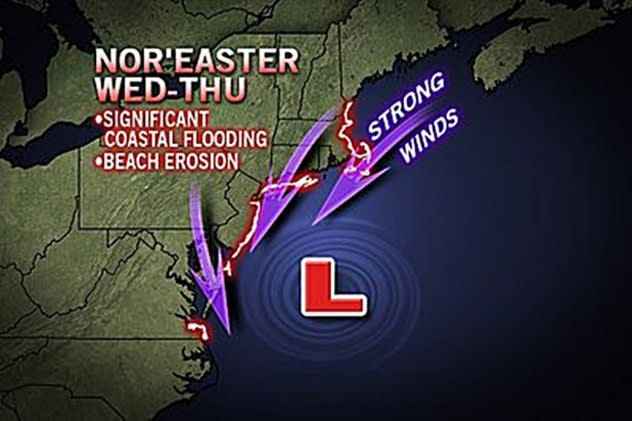 The nor'easter predicted for Wednesday may bring dangerous high winds and possible coastal flooding to Westchester County by midday.