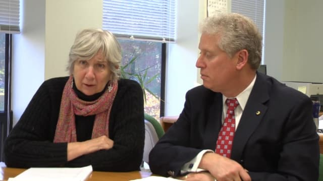 Town Supervisor Susan Carpenter and County Legislator Mike Kaplowitz upset with the long restoration process in New Castle.