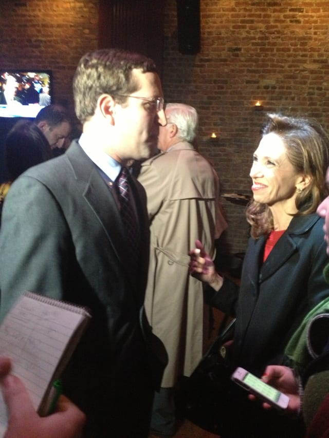 Assemblywoman Amy Paulin speaks to David Buchwald, the new Assemblyman of the 93rd District.