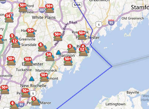An estimated 1,844 Con Edison customers were without power in Scarsdale at 11:30 a.m. Wednesday.