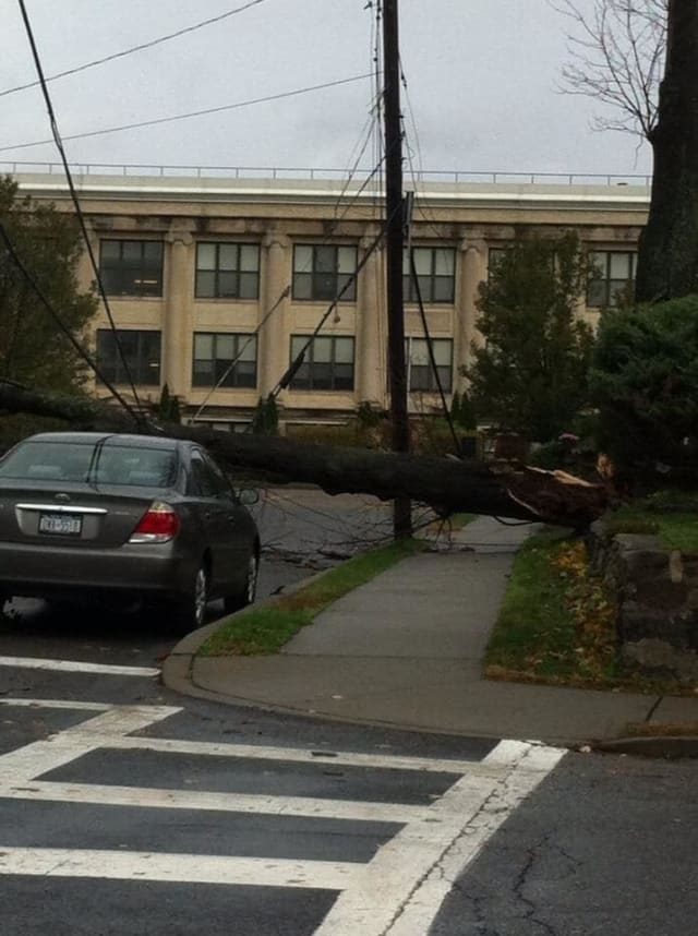 A photo from reader Kristina Perez of downed power line from Hurricane Sandy. Some Peekskill residents are still without power.
