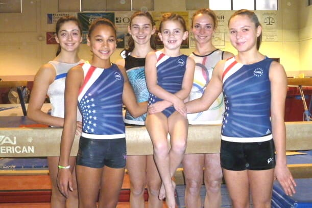 Six girls from Stamford's Arena Gymnastics will perform with gymnasts Saturday in Hartford. The girls are (front, from left) Sophia Casino, Maggie McKenzie, Bianca Dinsoe; and back, from left: Pamela Onarato, Ilana Olin and Caroline Fitzpatrick.