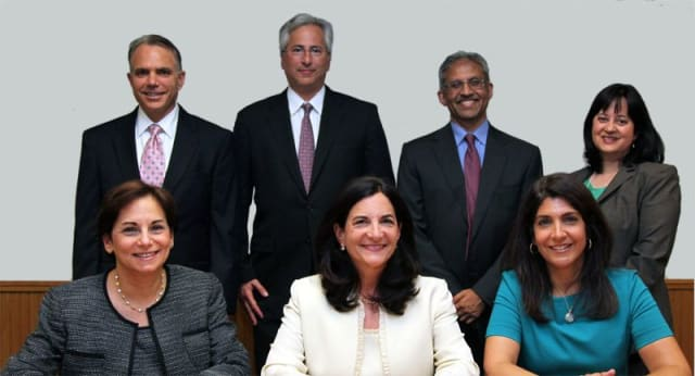 """Elizabeth Guggenheimer, center, will present the """"state of the schools"""" at the Scarsdale Forum membership meeting."""