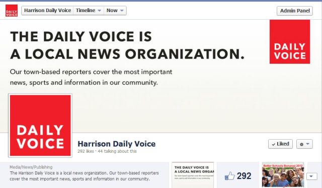 """""""Like"""" The Harrison Daily Voice on Facebook today."""