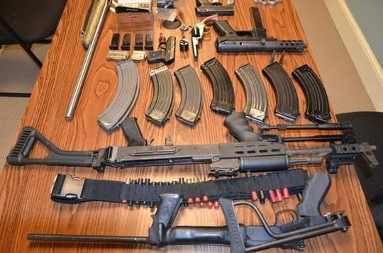 Some of the weapons seized from Bronxville lawyer Randall Cutler during his arrest in connection with a domestic dispute.