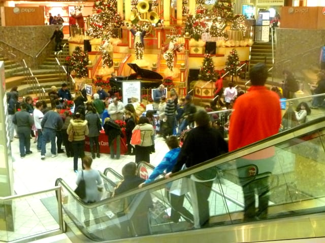 Stamford Town Center was filled with shoppers looking for holiday gifts on Black Friday.