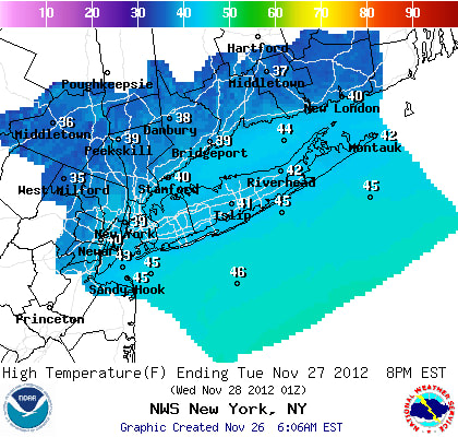 Snow is predicted for Westchester County Tuesday, with accumulations of less that half an inch possible.