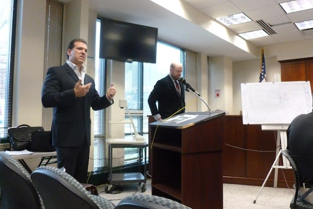 From left, Woodard and Curran representatives Anthony C. Catalano and Aaron Townsley present their environmental fieldwork of the Frank's Nursery site to the Greenburgh Town Board.