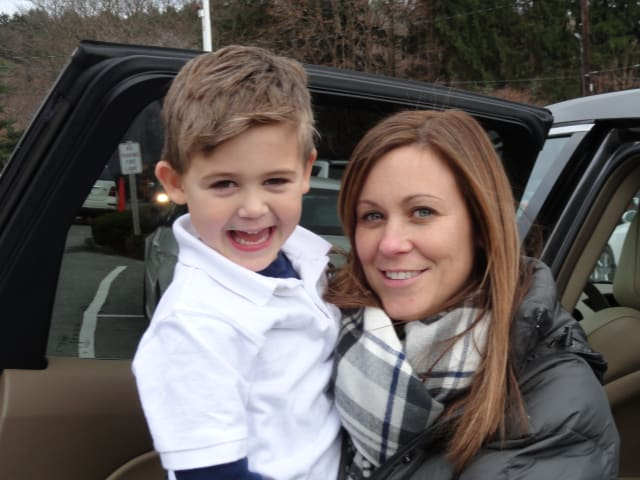 Tracy Bruno, of Yorktown, poses with her son Michael, who is a student at Holy Name of Jesus School in Valhalla.